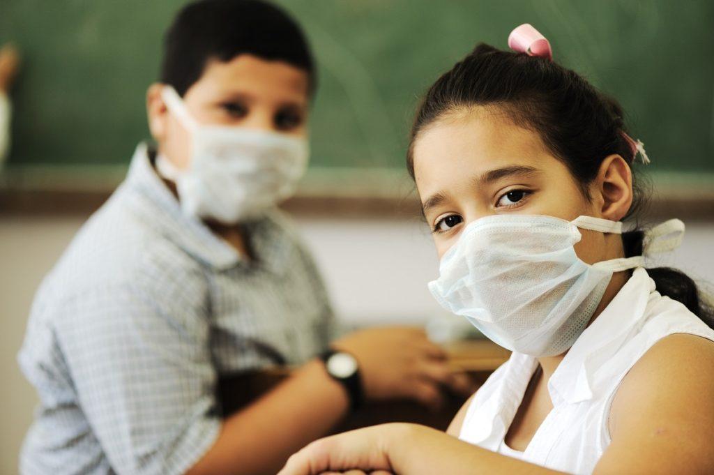 Masked School Children